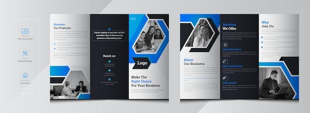 Modelo de folheto de negócios corporativos com três dobras