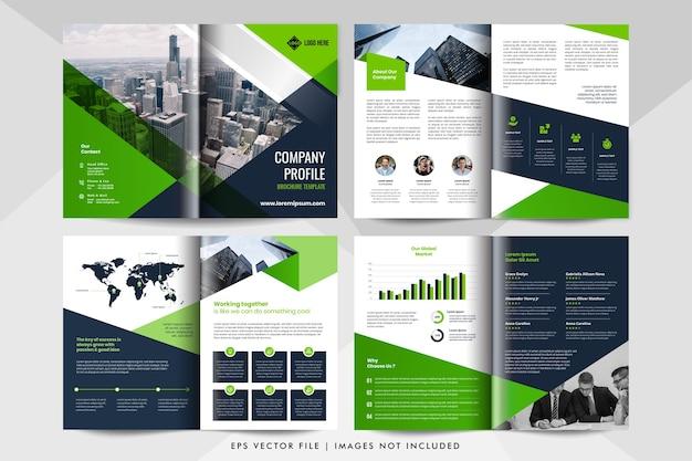 Modelo de folheto de negócios corporativos de 8 páginas.