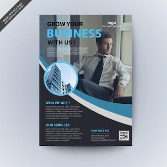 Modelo de folheto de negócios corporativos ondulado