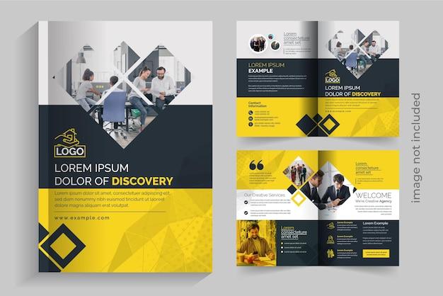 Modelo de folheto de negócios criativo bifold com detalhes em amarelo e escuro