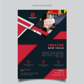 Modelo de folheto de negócios de forma geométrica vermelha