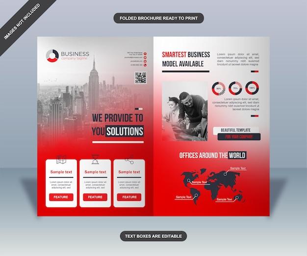 Modelo de folheto de negócios dobrado moderno vermelho