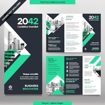 Modelo de folheto de negócios em layout dobrável em três partes. folheto de design corporativo com imagem substituível.