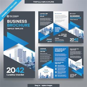 Modelo de folheto de negócios em layout dobrável em três partes.