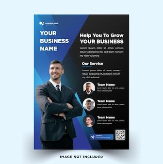 Modelo de folheto de negócios moderno para negócios com elegante design moderno azul escuro vetor premium