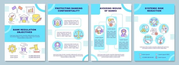 Modelo de folheto de objetivos de regulamentação do banco. direito financeiro. folheto, folheto, impressão de folheto, design da capa com ícones lineares. layouts de vetor para apresentação, relatórios anuais, páginas de anúncios