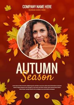 Modelo de folheto de outono em gradiente com foto