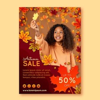 Modelo de folheto de outono vertical detalhado com foto