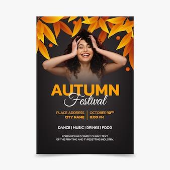 Modelo de folheto de outono vertical em gradiente com foto