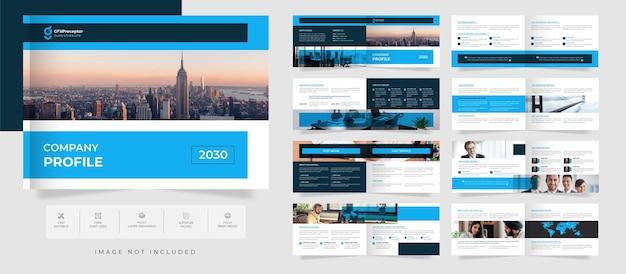 Modelo de folheto de paisagem corporativa moderno de 16 páginas e design de relatório anual