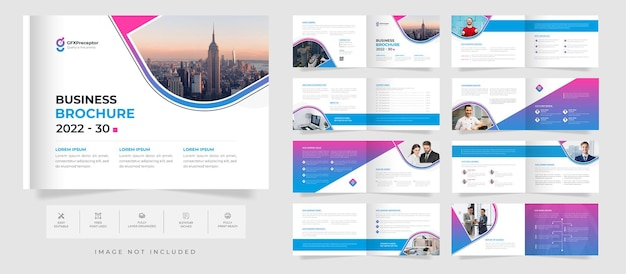 Modelo de folheto de paisagem de 16 páginas corporativas bifold com design de perfil de empresa de forma abstrata