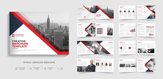 Modelo de folheto de paisagem moderna corporativa bifold de 16 páginas design de relatório anual