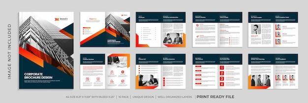 Modelo de folheto de perfil da empresa, folheto corporativo de várias páginas