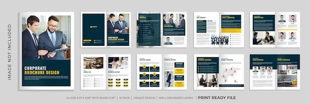 Modelo de folheto de perfil da empresa, folheto de várias páginas