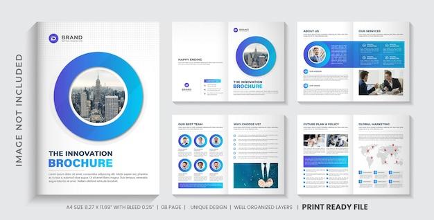 Modelo de folheto de perfil da empresa ou design de layout de modelo de folheto minimalista de várias páginas