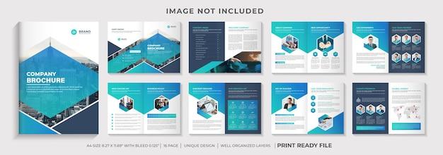 Modelo de folheto de perfil da empresa ou layout de modelo de folheto da empresa nas cores turquesa e azul