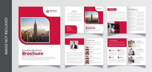 Modelo de folheto de perfil de empresa de páginas, modelo de folheto de negócios criativo de 8 páginas