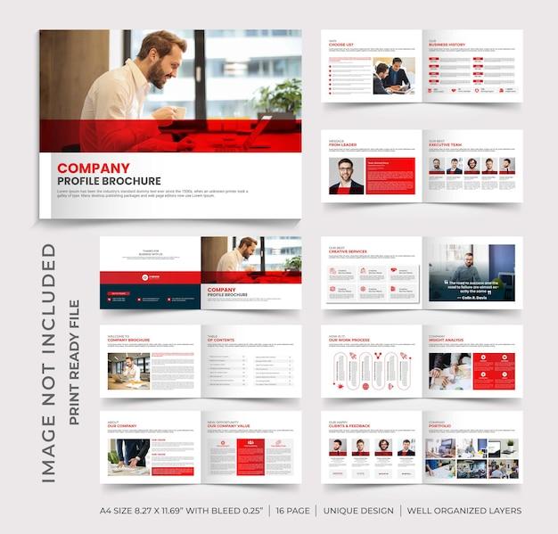 Modelo de folheto de perfil de empresa, design de folheto de perfil de empresa em paisagem