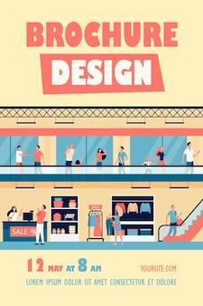 Modelo de folheto de pessoas comprando em shopping center