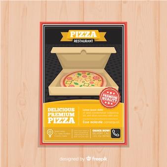 Modelo de folheto de pizza de caixa aberta