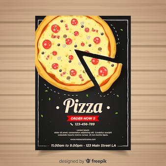 Modelo de folheto de pizza desenhada de mão