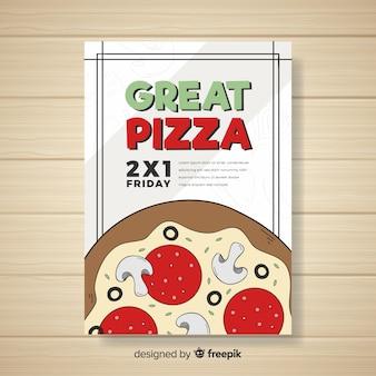 Modelo de folheto de pizza dos desenhos animados