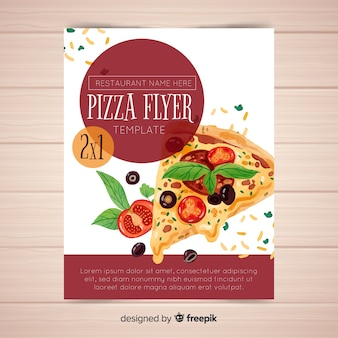 Modelo de folheto de pizza em aquarela