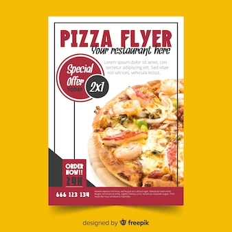 Modelo de folheto de pizza fotográfico