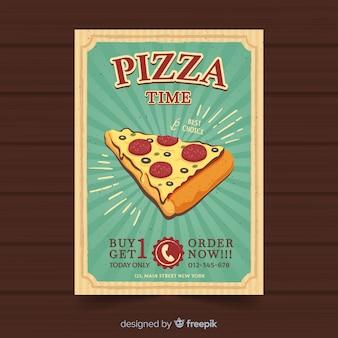 Modelo de folheto de pizza vintage