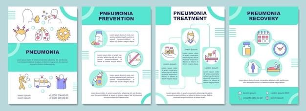 Modelo de folheto de pneumonia. prevenção e tratamento de infecções. folheto, folheto, impressão de folheto, design da capa com ícones lineares. layouts de vetor para apresentação, relatórios anuais, páginas de anúncios