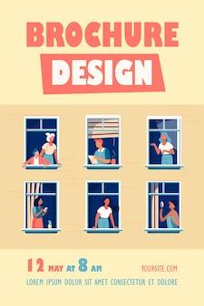 Modelo de folheto de prédio de apartamentos com pessoas em espaços com janelas abertas