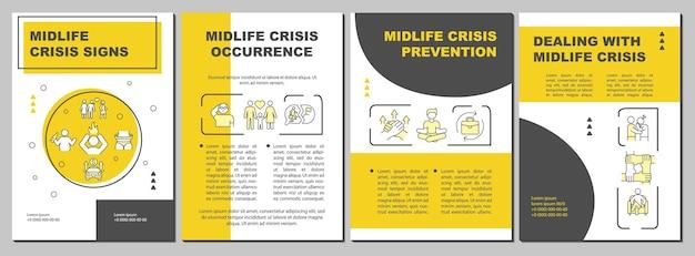 Modelo de folheto de prevenção de crises de meia-idade. ajuda do psicoterapeuta. folheto, folheto, impressão de folheto, design da capa com ícones lineares. layouts de vetor para apresentação, relatórios anuais, páginas de anúncios