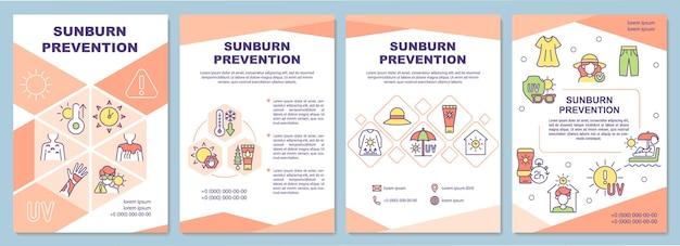 Modelo de folheto de prevenção de queimaduras solares. proteção da pele do sol.