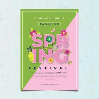 Modelo de folheto de primavera com design plano floral