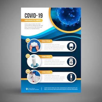 Modelo de folheto de produtos médicos para coronavírus com foto