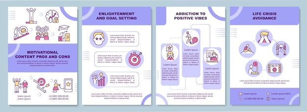 Modelo de folheto de profissionais de conteúdo motivacional. definição de metas.
