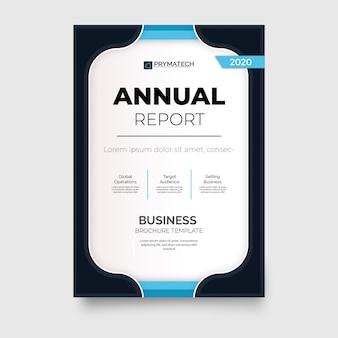 Modelo de folheto de relatório anual moderno com formas azuis