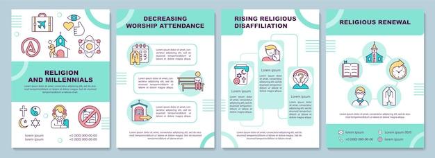 Modelo de folheto de religião e geração do milênio. renovação religiosa. modelo de folheto