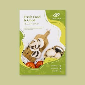 Modelo de folheto de restaurante com comida saudável