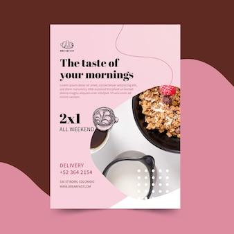 Modelo de folheto de restaurante de café da manhã