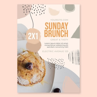 Modelo de folheto de restaurante de comida para brunch de domingo