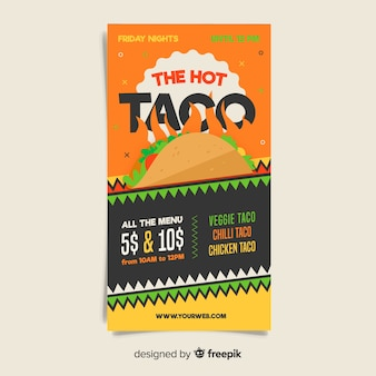 Modelo de folheto de restaurante mexicano colorido