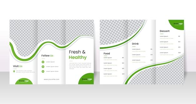 Modelo de folheto de restaurante saudável com três dobras.