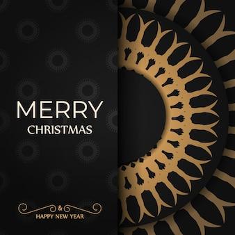 Modelo de folheto de saudação de cor preta feliz natal e feliz ano novo com enfeite de laranja de inverno