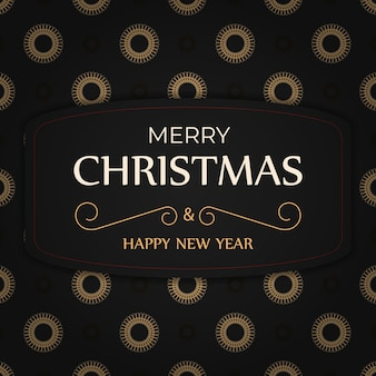 Modelo de folheto de saudação de cor preta feliz natal e feliz ano novo com ornamento laranja abstrato