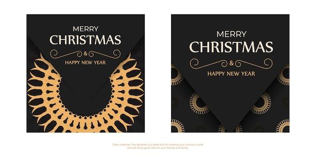 Modelo de folheto de saudação de cor preta feliz natal e feliz ano novo com padrão laranja de inverno