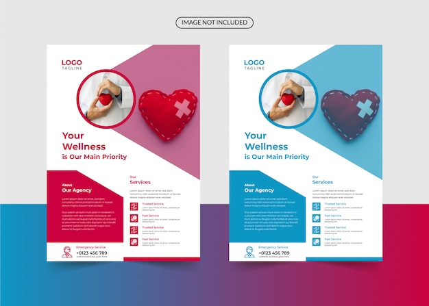 Modelo de folheto de saúde e médico