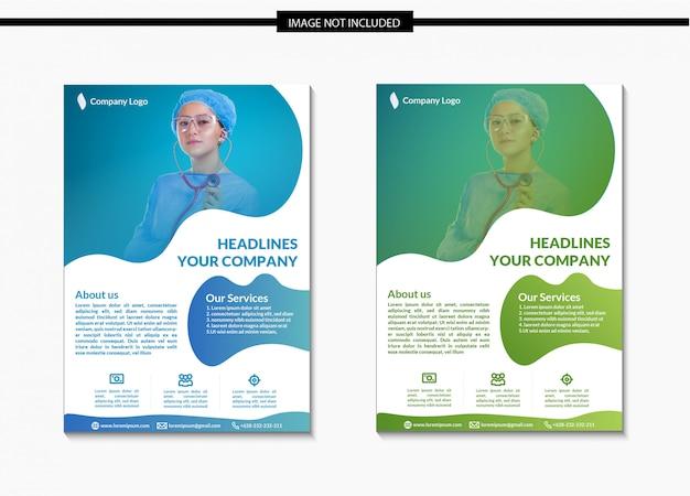 Modelo de folheto de saúde e médicos em a4