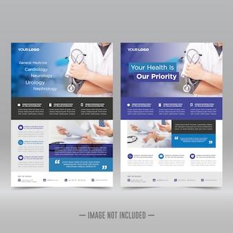 Modelo de folheto de saúde e médicos