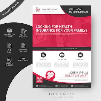 Modelo de folheto de seguro de saúde